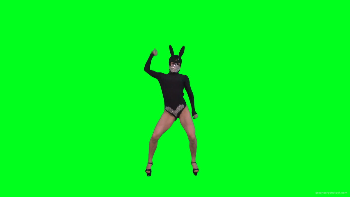 vj video background Sexy-dancing-girl-in-rabbit-mask-and-black-fashion-dress-posing-in-fetish-style-isolated-on-green-screen-4K-Video-Footage-1920_003