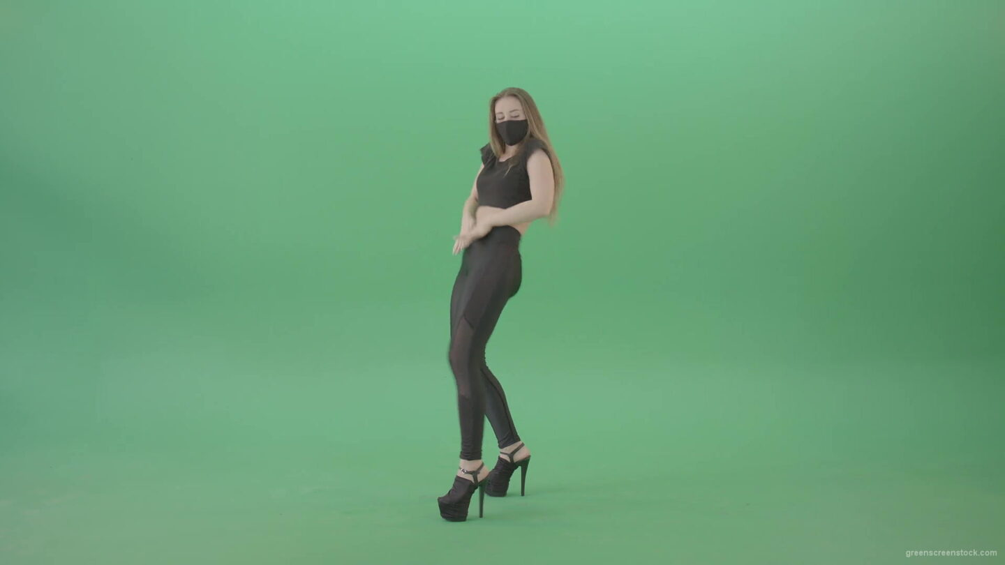 Strip-Dancing-girl-in-corona-virus-mask-dance-over-green-screen-4K-Video-Footage-1920_002 Green Screen Stock