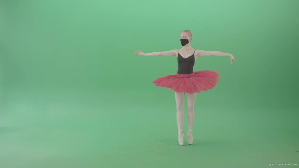 vj video background Tinny-Ballet-Dancing-Girl-Ballerina-in-red-black-dress-and-mask-welcome-people-for-awards-Green-Screen-Video-Footage-1920_003