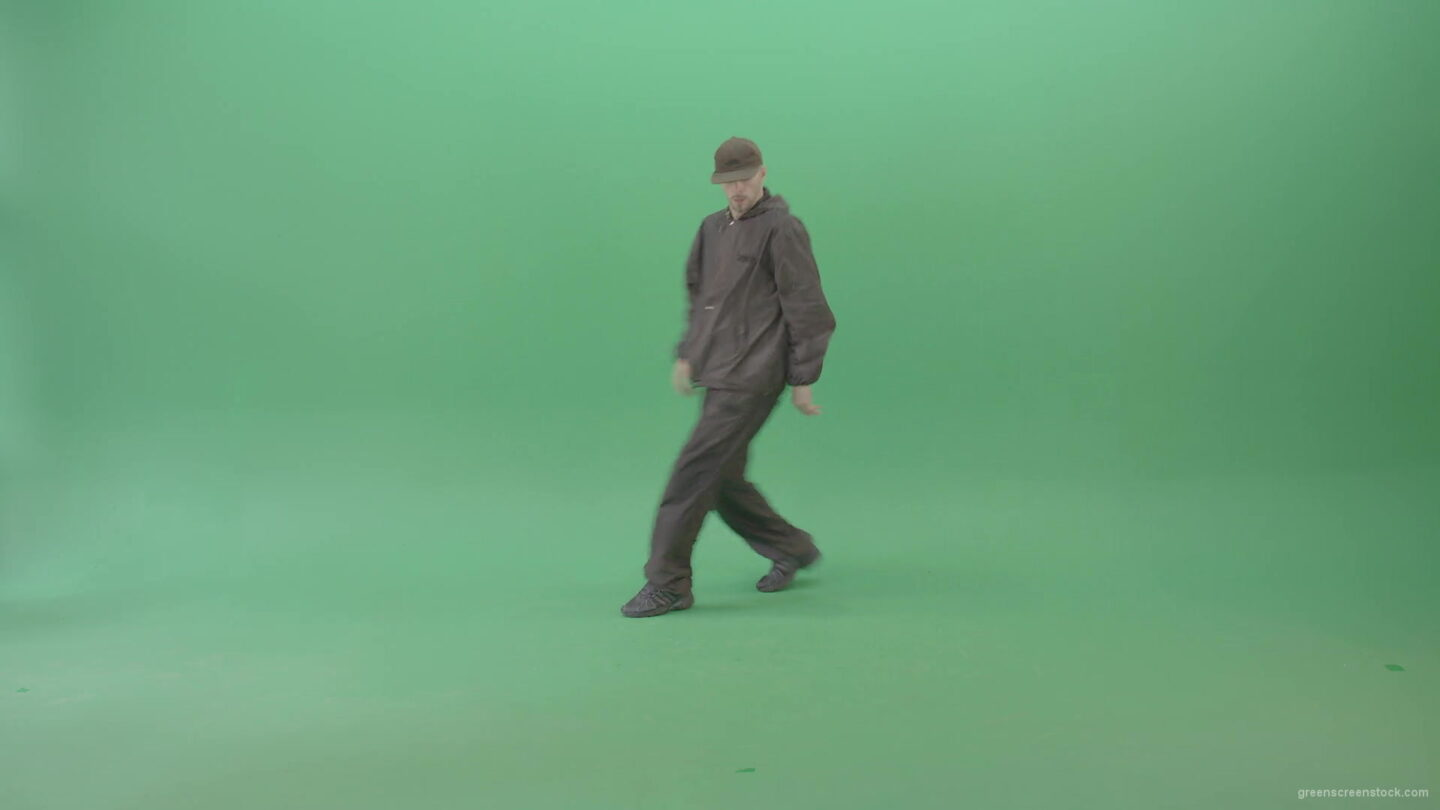 Athlete-Man-making-Air-freeze-on-hand-breaking-on-green-screen-4K-Video-Footage-1920_004 Green Screen Stock