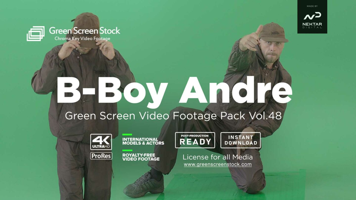 B-boy-Andre breakdance on green screen
