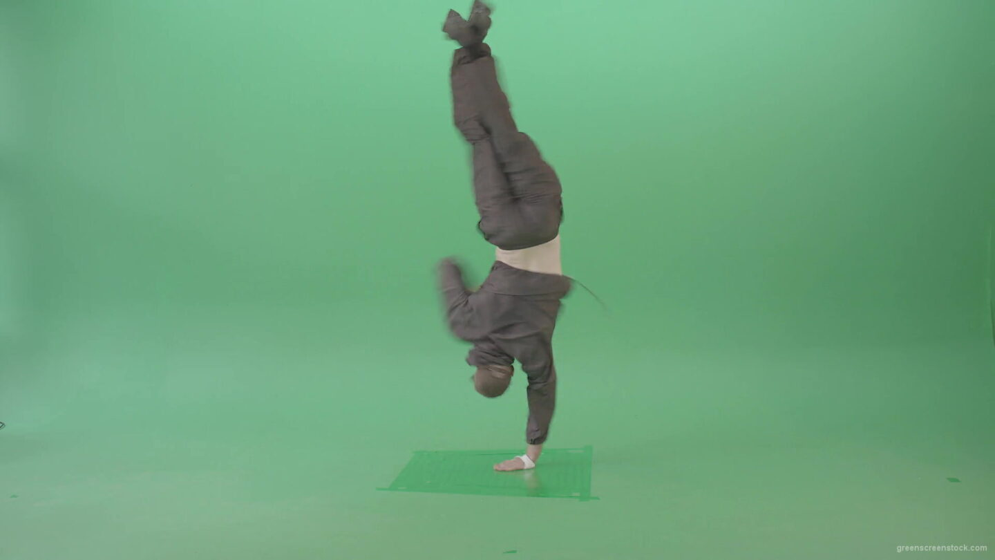 Breaker-B-boy-spinning-on-hand-dancing-hip-hop-on-green-screen-4K-Video-Footage-1920_007 Green Screen Stock