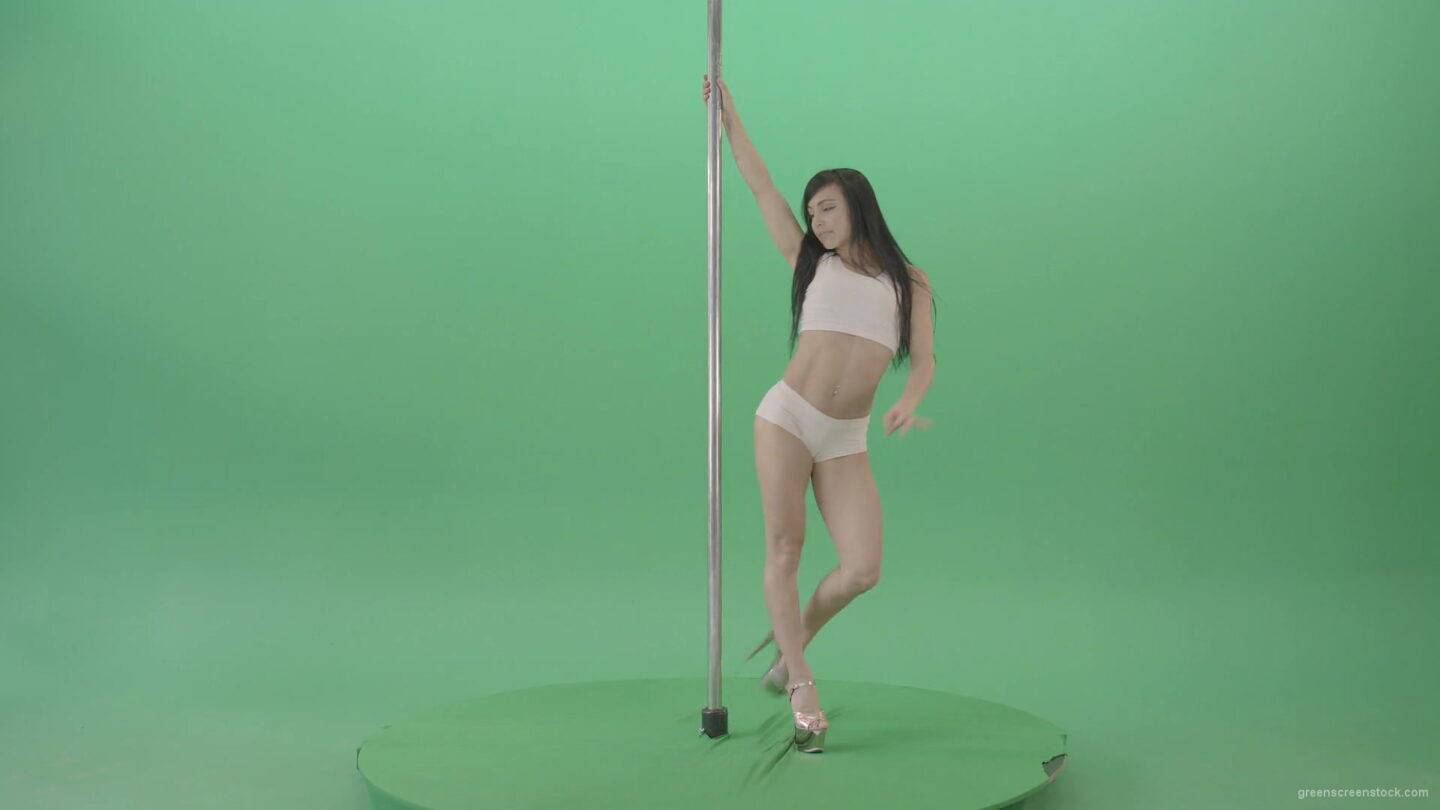 Dancing-GIrl-walking-arround-Pole-in-strip-white-underwear-on-green-screen-4K-Video-Footage-1920_006 Green Screen Stock