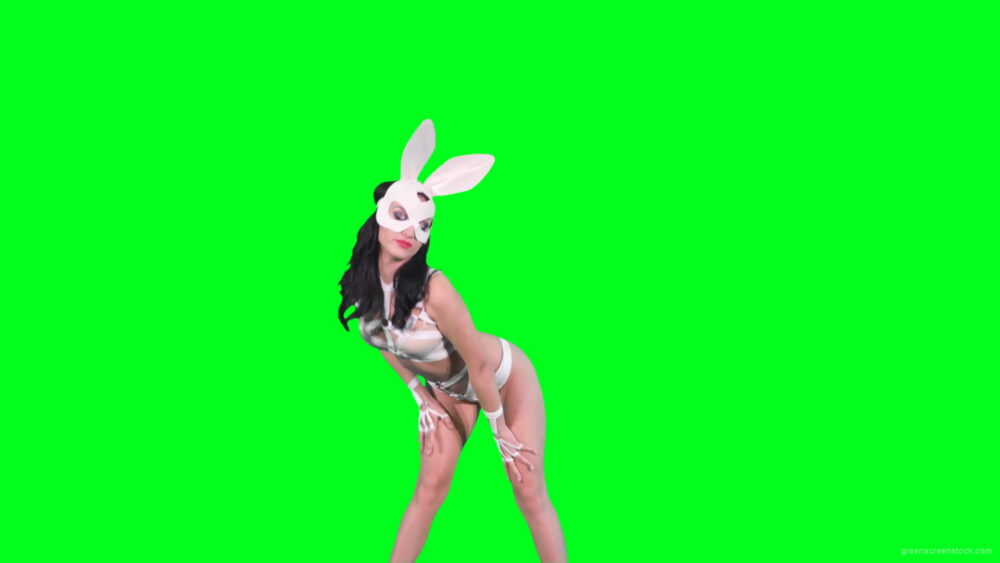 vj video background Go-go-Dancer-in-White-Rabbit-EDM-fetish-costume-making-sexy-moves-on-green-screen-4K-video-footage-1920_003
