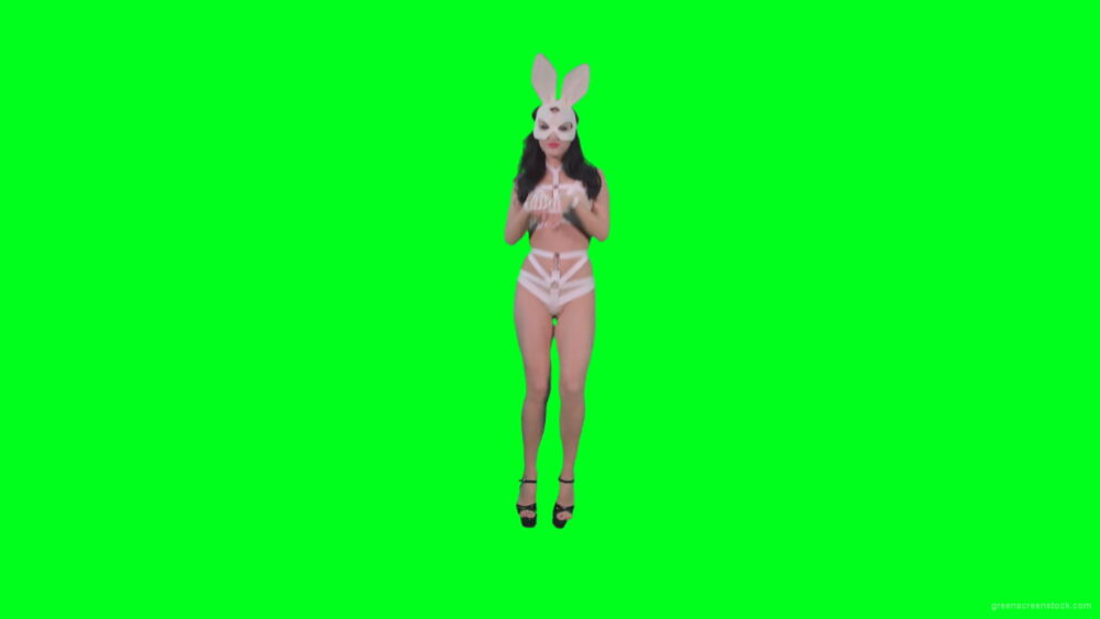 vj video background Sexy-woman-jumping-in-Go-Go-style-in-rabbit-mask-on-green-screen-4K-Video-Footage-1920_003