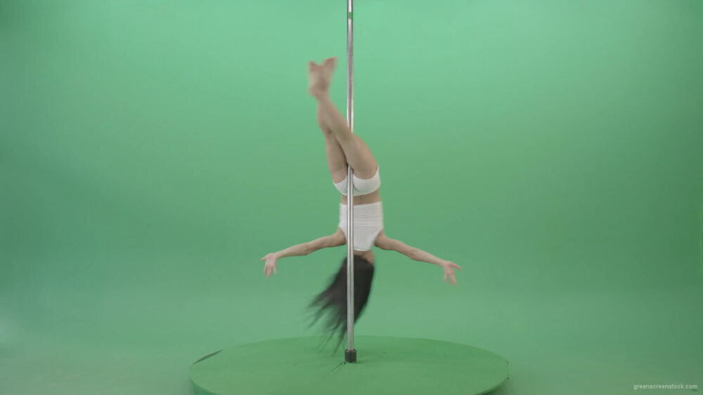 Sport-Fit-Girl-spinning-on-pole-making-acrobatic-element-on-green-screen-1920_006 Green Screen Stock