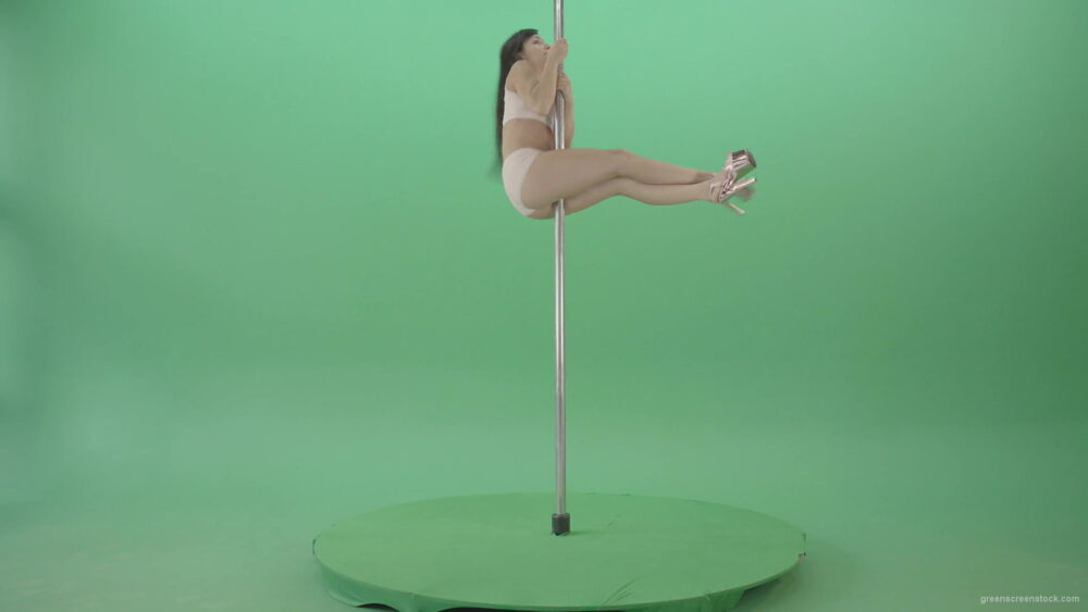 vj video background White-dressed-Girl-spinning-down-head-on-pole-dance-on-green-screen-4K-Video-Footage-1920_003