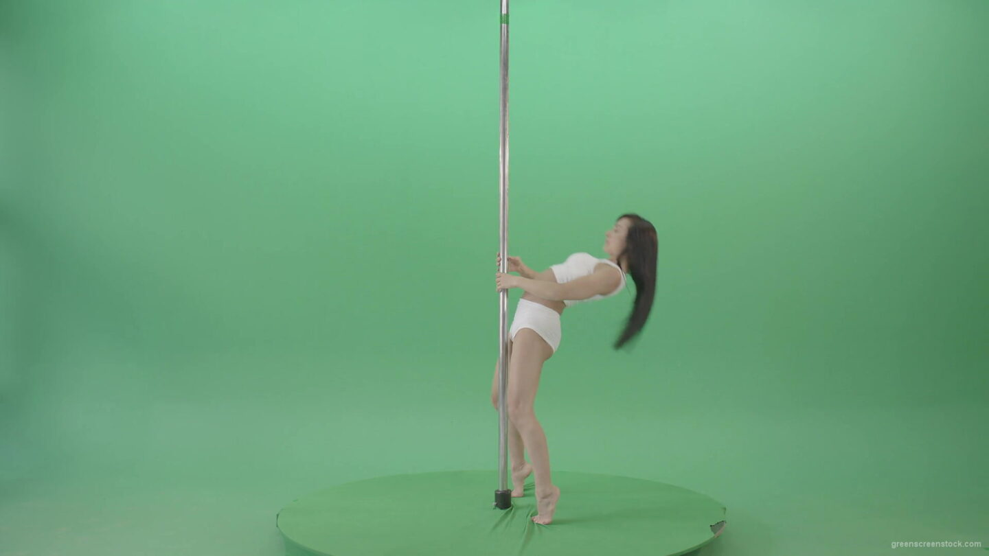 Young-girl-waving-her-body-near-pole-in-white-underwear-on-green-screen-1920_006 Green Screen Stock