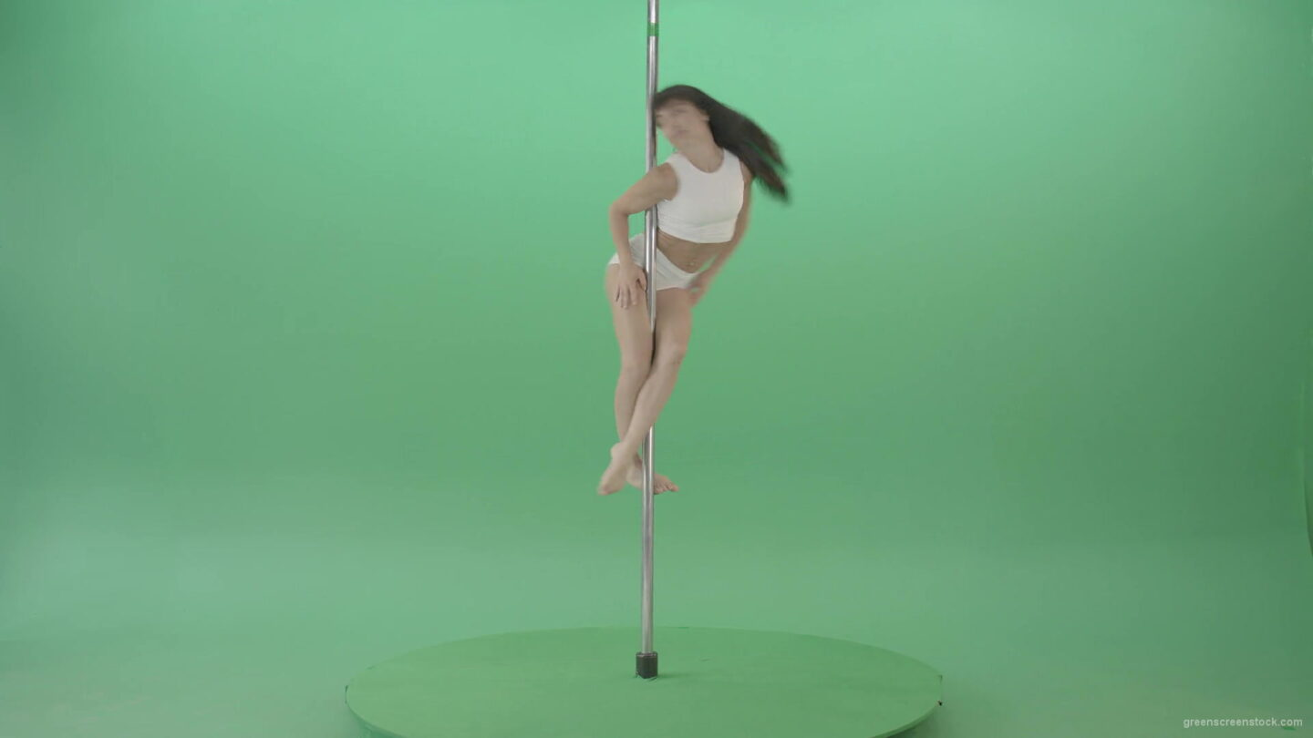 Young-woman-spinning-in-pole-dance-on-green-screen-1920_005 Green Screen Stock