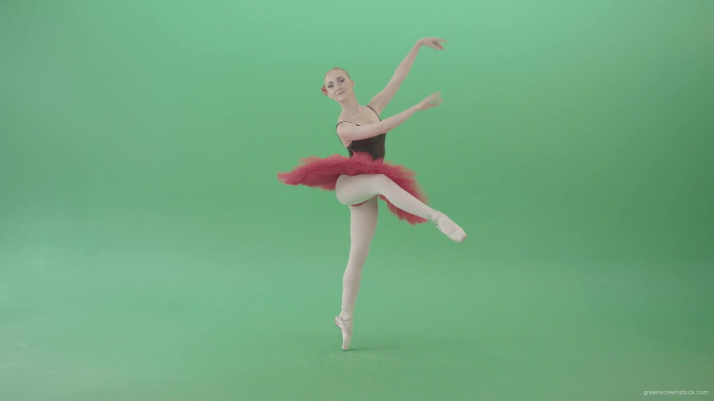 Ballet-girl-in-green-screen-in-red-black-costume-dancing-classic-dance-4K-Video-Footage-1920_008 Green Screen Stock
