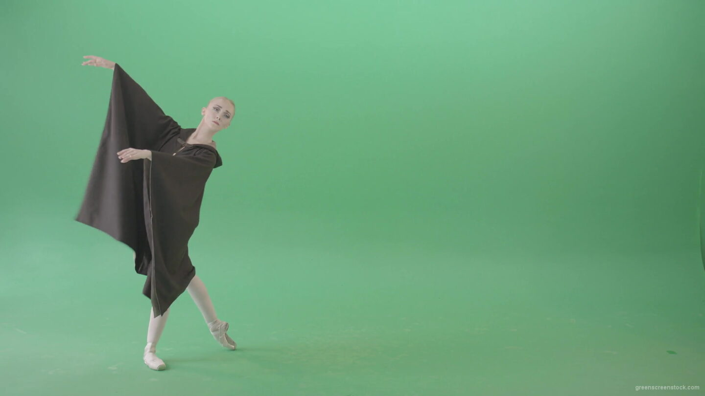 Ballet-girl-in-matle-cloak-dancing-on-green-screen-1920_009 Green Screen Stock