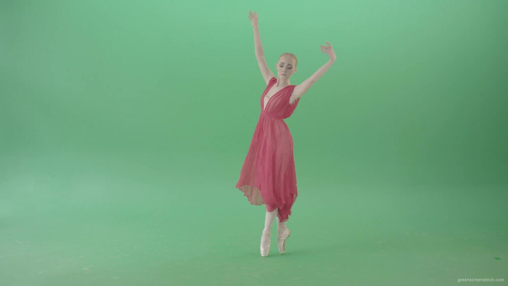 vj video background Blonde-girl-in-red-dress-dancing-classical-ballet-on-green-screen-4K-video-footage-1920_003