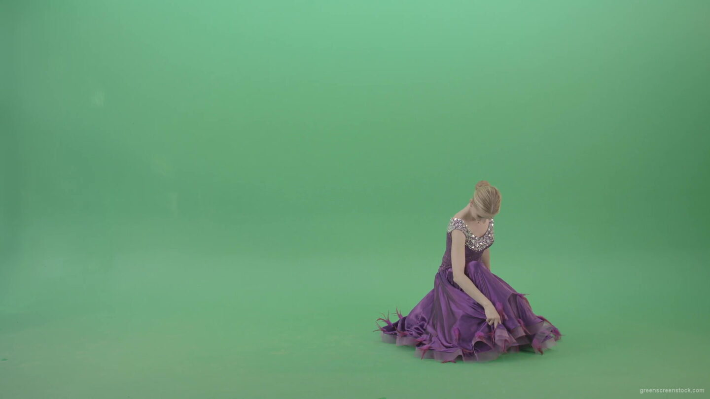 Elite-girl-in-violet-ballroom-dress-makes-reverence-bow-regards-on-green-screen-4K-Video-Footage-1920_009 Green Screen Stock