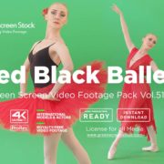 Red Black Ballet dancing girl – Green Screen Video Footage Pack