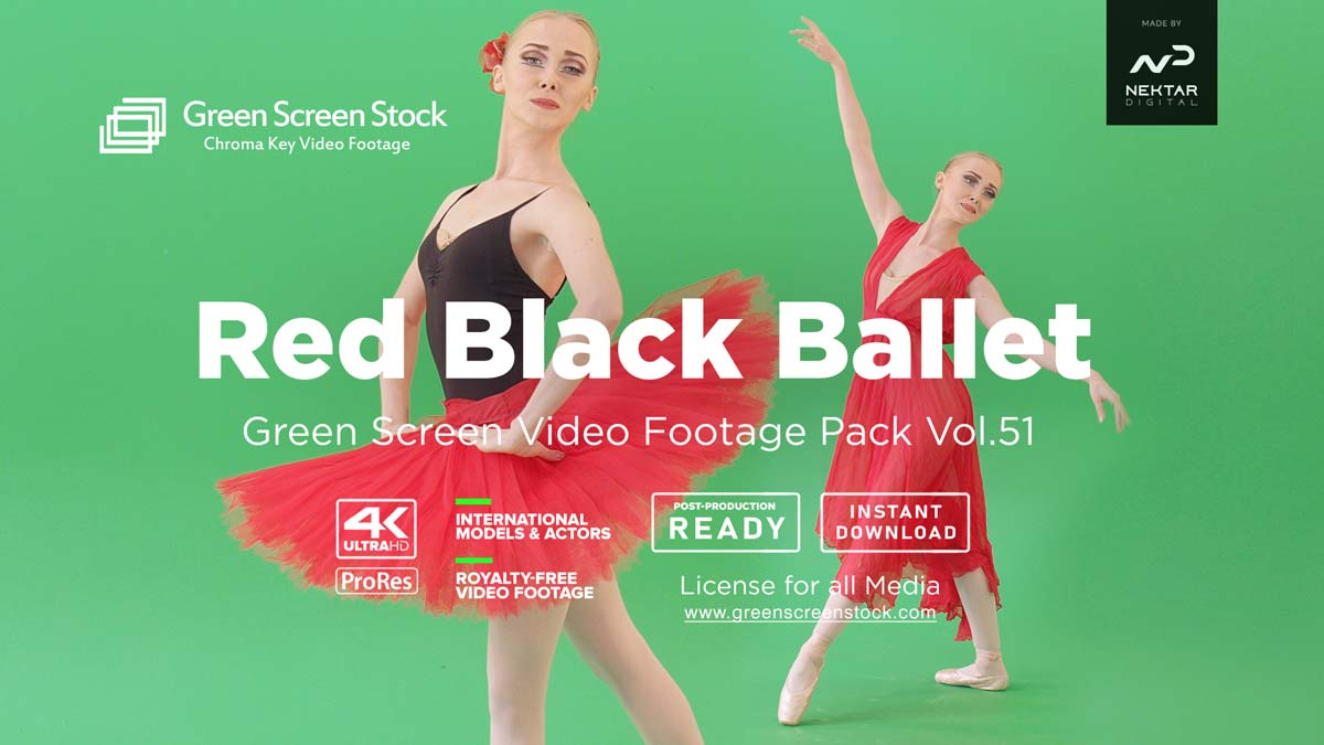 Red Black Ballet dancing girl – Green Screen Video Footage Pack
