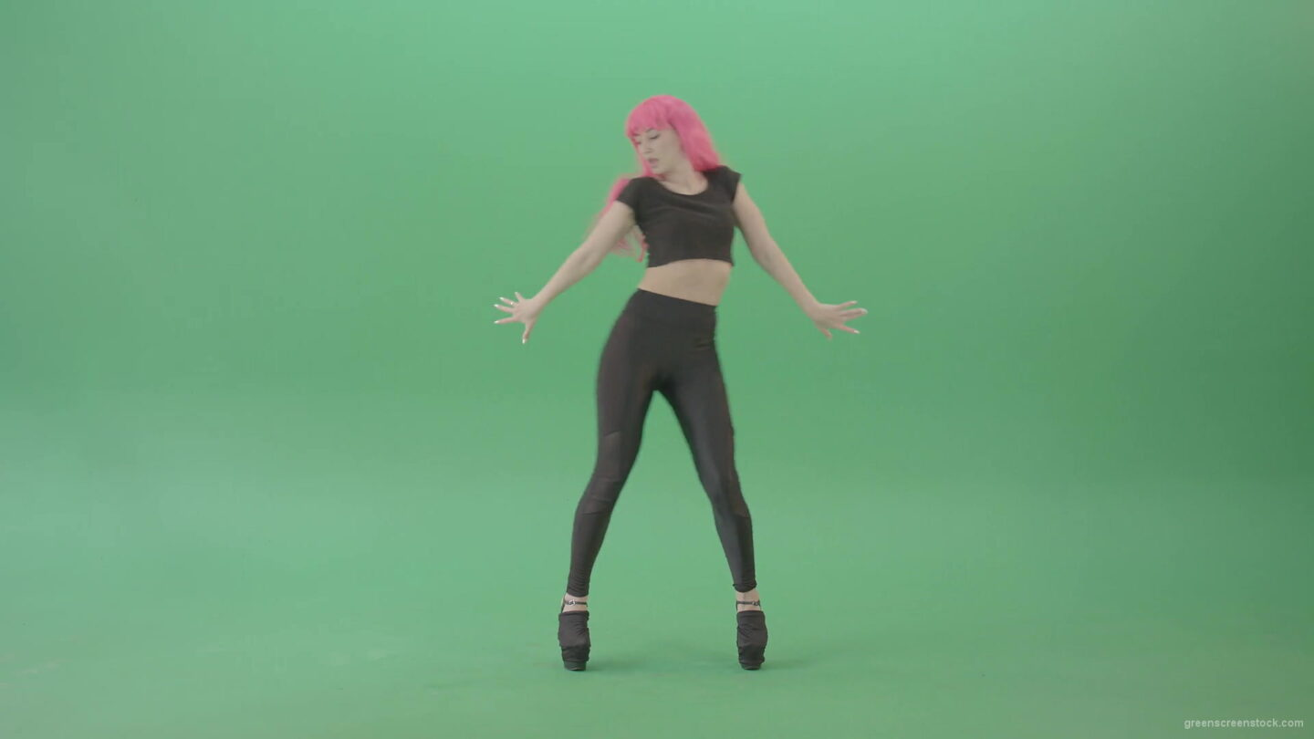 vj video background Pink-hair-EMO-sexy-girl-on-green-screen-posing-and-dancing-4K-Video-Footage-1920_003
