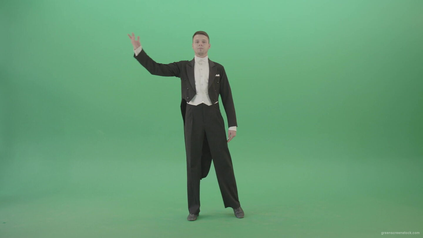 Ballroom-dancing-man-on-green-screen-making-reverence-4K-Video-Footage-1920_007 Green Screen Stock