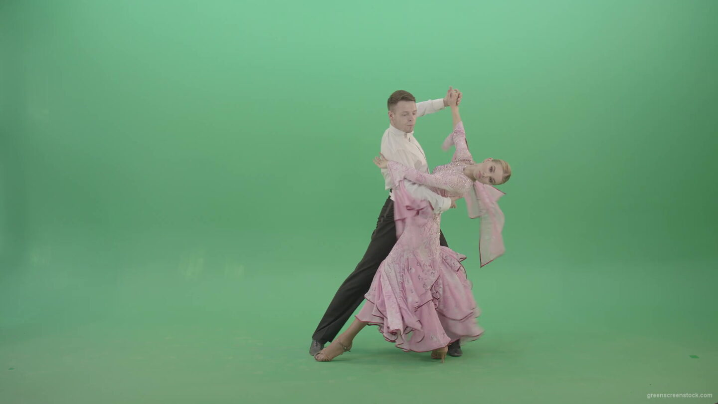 Foxtrot-Dance-by-man-and-woman-on-green-screen-ballroom-dance-4K-Video-Footage-1920_004 Green Screen Stock