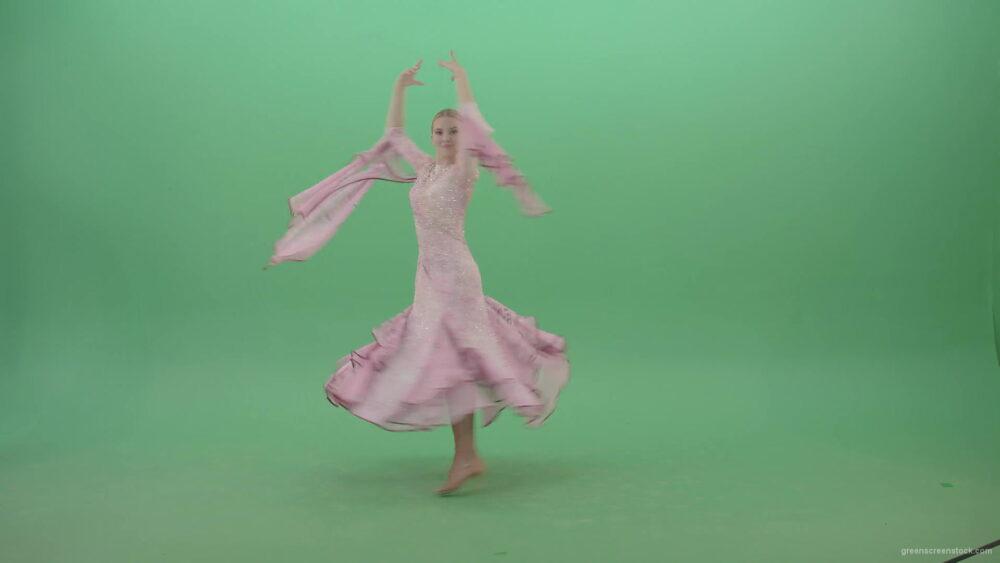 Ballroom-Dancing-Girl-spinning-in-pink-dress-on-green-screen-4K-Video-Footage-1920_007 Green Screen Stock
